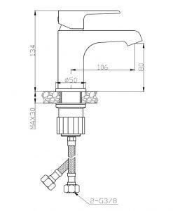 Смесител за мивка с изпразнител хром/бяло Largo BAH_622D Laveo