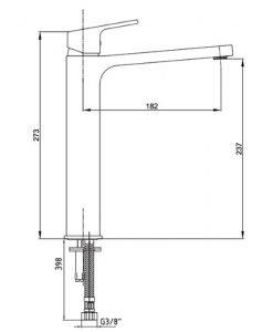 Смесител за умивалник висок черен мат TIERA 102188002C1