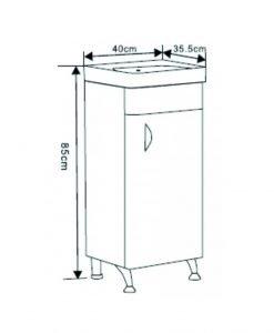 Компактен PVC мебел за баня 4035