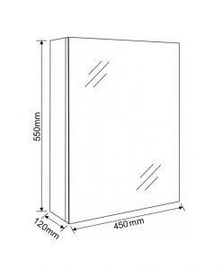 Огледален PVC шкаф 4512-55