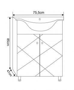 PVC мебел за баня 7544 New