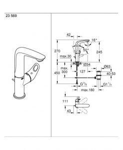 Висок смесител за умивалник хром/бяло Grohe EUROSTYLE 23569LS3