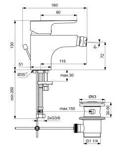 Смесител за биде Ideal Standard Ceraplan III B0897AA