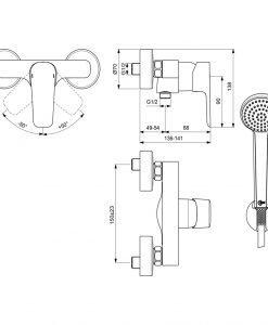 Смесител за душ с аксесоари Ideal Standard Ceraplan III B0717