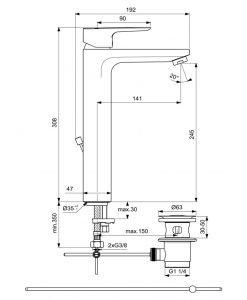 Висок смесител за умивалник Ideal Standard Ceraplan III H250 BC561