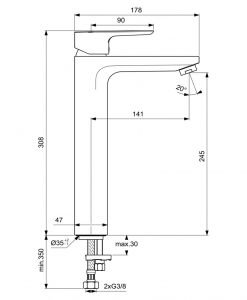 Висок смесител за умивалник Ideal Standard Ceraplan III H250 BC562AA