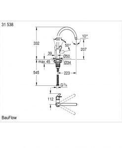 BauFlow Grohe кухненски смесител 31538001