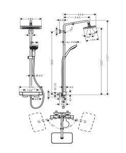 HANSGROHE CROMA E 280 1jet Душ система с термостатен смесител за душ, за стенен монтаж 27630000