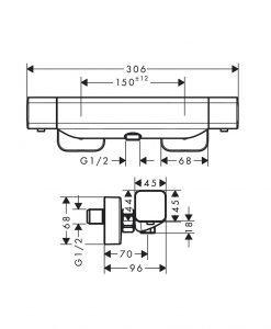 HANSGROHE ECOSTAT E Термостатен смесител за душ за стенен монтаж 15773000