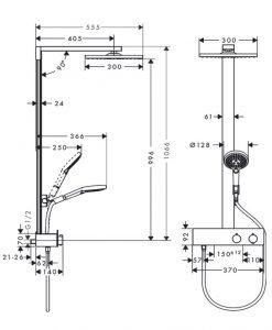 HANSGROHE RAINDANCE E 300 1jet Душ система с термостатен смесител за душ 27361000