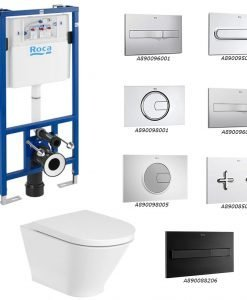 ROCA Окачена тоалетна GAP ROUND RIMLESS + структура и бутон DUPLO по избор
