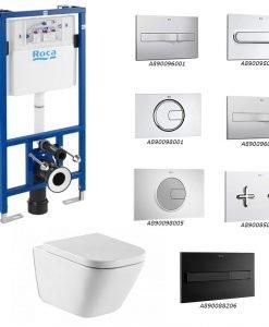 ROCA Окачена тоалетна GAP SQUARE RIMLESS + структура и бутон DUPLO и бутон по избор