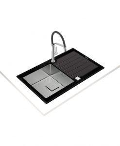 TEKA DIAMOND RS15 1C 1E ЧЕРНА Кухнеснска мивка М.1010.А.черно стъкло