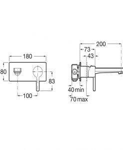 Вграден смесител за мивка Roca Naia A5A3596C00