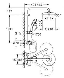 Душ система с едноръкохватков смесител GROHE TEMPESTA COSMOPOLITAN 210 26224001