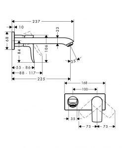 HANSGROHE METRIS Смесител за умивалник за стенен монтаж 31086000