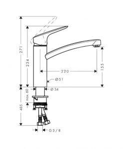LOGIS M31 Кухненски смесител H160 1jet 71839000