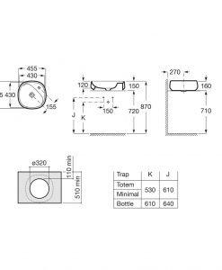 Порцеланов умивалник 45,5см. върху плот ROCA FINECERAMIC® BEYOND A3270B9000