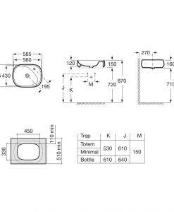 Порцеланов умивалник 58,5см. върху плот ROCA FINECERAMIC® BEYOND A3270B8000