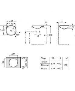 Порцеланов умивалник за вграждане 45,5 ROCA FINECERAMIC® BEYOND A3270B7000