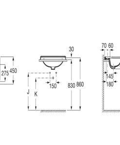 Ретро умивалник за вграждане в плот ROCA CARMEN A3270A5000