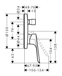 Смесител за душ и вана за вграждане Hansgrohe Logis E 71404000