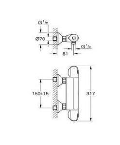 Термостатен смесител за душ GROHE GROHTHERM 1000 34143003