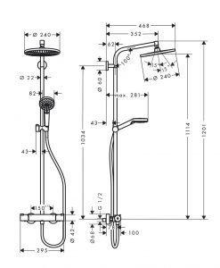 CROMETTA S 240 1jet  Душ система с термостатен смесител за душ 27267000