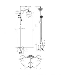 Душ система Croma 220 с термостат с чучур за вана 27223000
