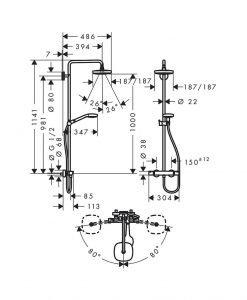 Душ система Croma Select E 180 2jet с термостат 27256400