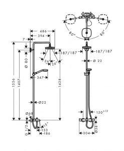 Душ система Croma Select E 180 2jet с термостат с чучур за вана 27352400