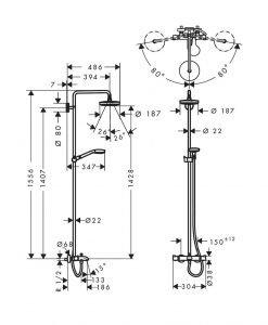 Душ система Croma Select S 180 2jet с термостат с чучур за вана 27351400