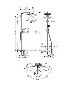Душ система Croma Select S 280 1jet с термостат с чучур за вана 26792000