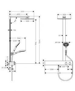 Душ система Raindance E 300 1jet с термостат ShowerTablet 600 27363000