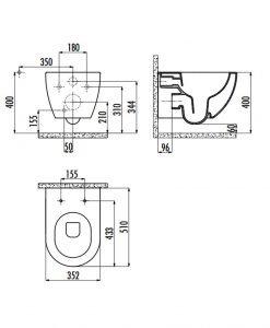 Конзолна тоалетна чиния Rimless с капак Soft Close CREAVIT FE321