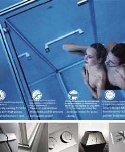 Луксозна душ кабина 2601R 120*90 прозрачно стъкло 10мм