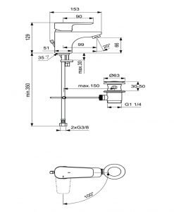 Смесител за умивалник IDEAL STANDARD GRANDE CERAPLAN III B0767