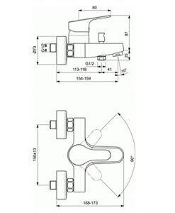 Смесител за вана/душ SEVA FLOW В0779АА