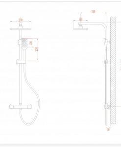 Телескопична термостатна душ колона КЛЕМАНС 6222