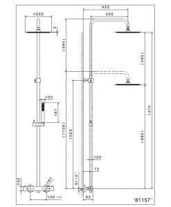 Черна термостатна душ система NEWFORM TONDA 61157 01.093