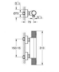Grohtherm 1000 Performance Термостатен смесител за душ 34776000