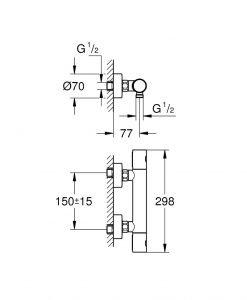Grohtherm 800 Cosmopolitan Термостатен смесител за душ 34765000