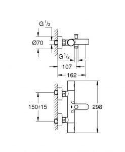 Grohtherm 800 Cosmopolitan Термостатен смесител за вана 34766000