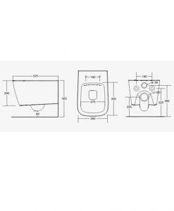 HATRIA Конзолна тоалетна чиния Rimless A16 ASV00317+ASA00117 цвят черен мат