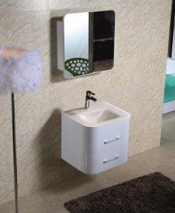 PVC шкаф за баня с бял стъклен умивалник 6149GB 60*49
