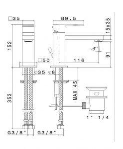 Смесител за мивка черен мат NEWFORM ERGO-Q 66410.01.093