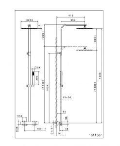 Термостатна душ система черен мат NEWFORM ERGO-Q 61158.01.093