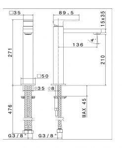Висок смесител за мивка черен мат NEWFORM ERGO-Q 66415 01.093