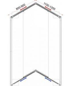 Душ кабина квадрат регулируема 787TR прозрачно стъкло 80-90*110-120