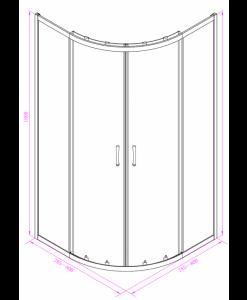 Душ кабина овал регулируема 585/31 NEW рисувано стъкло 78.5-80*180